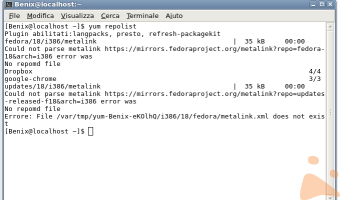 Fedora 18. Problemi di aggiornamenti.